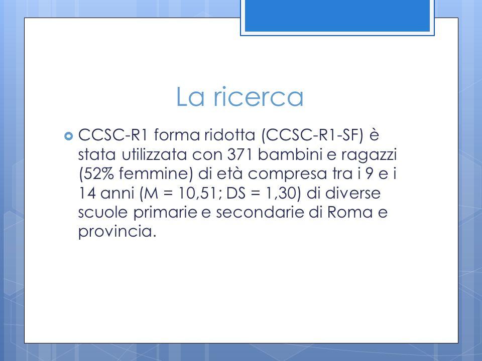 La ricerca  CCSC-R1 forma ridotta (CCSC-R1-SF) è stata utilizzata con 371 bambini e ragazzi (52% femmine) di età compresa tra i 9 e i 14 anni (M = 10