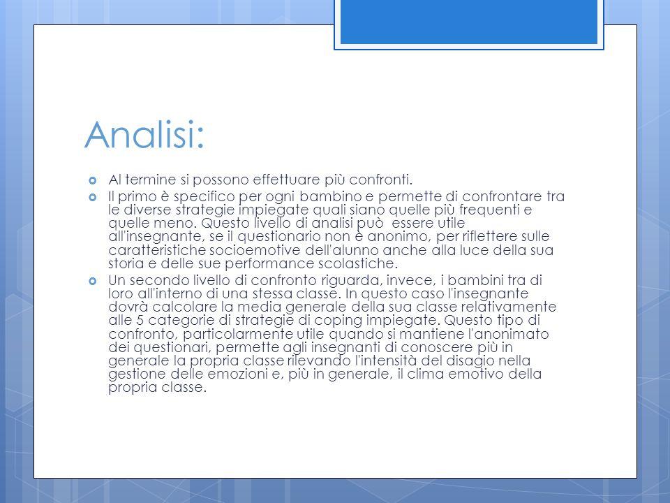 Analisi:  Al termine si possono effettuare più confronti.  Il primo è specifico per ogni bambino e permette di confrontare tra le diverse strategie