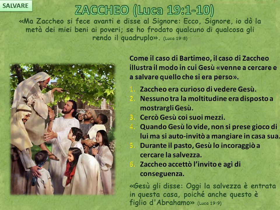 «Ma Zaccheo si fece avanti e disse al Signore: Ecco, Signore, io dò la metà dei miei beni ai poveri; se ho frodato qualcuno di qualcosa gli rendo il quadruplo».