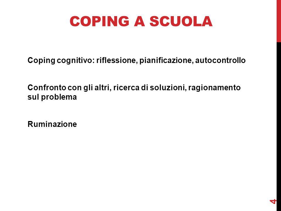 COPING A SCUOLA Coping cognitivo: riflessione, pianificazione, autocontrollo Confronto con gli altri, ricerca di soluzioni, ragionamento sul problema Ruminazione 4