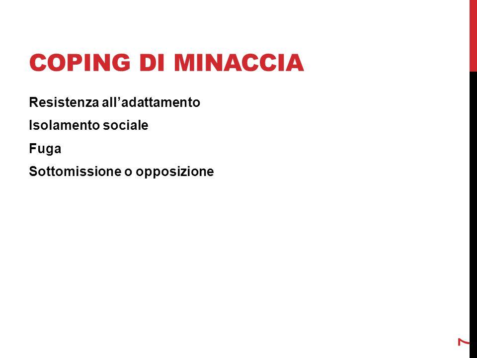 COPING DI MINACCIA Resistenza all'adattamento Isolamento sociale Fuga Sottomissione o opposizione 7