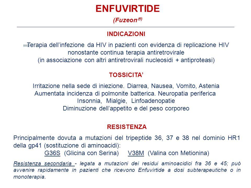 INDICAZIONI  Terapia dell'infezione da HIV in pazienti con evidenza di replicazione HIV nonostante continua terapia antiretrovirale (in associazione con altri antiretrovirali nucleosidi + antiproteasi) TOSSICITA' Irritazione nella sede di iniezione.
