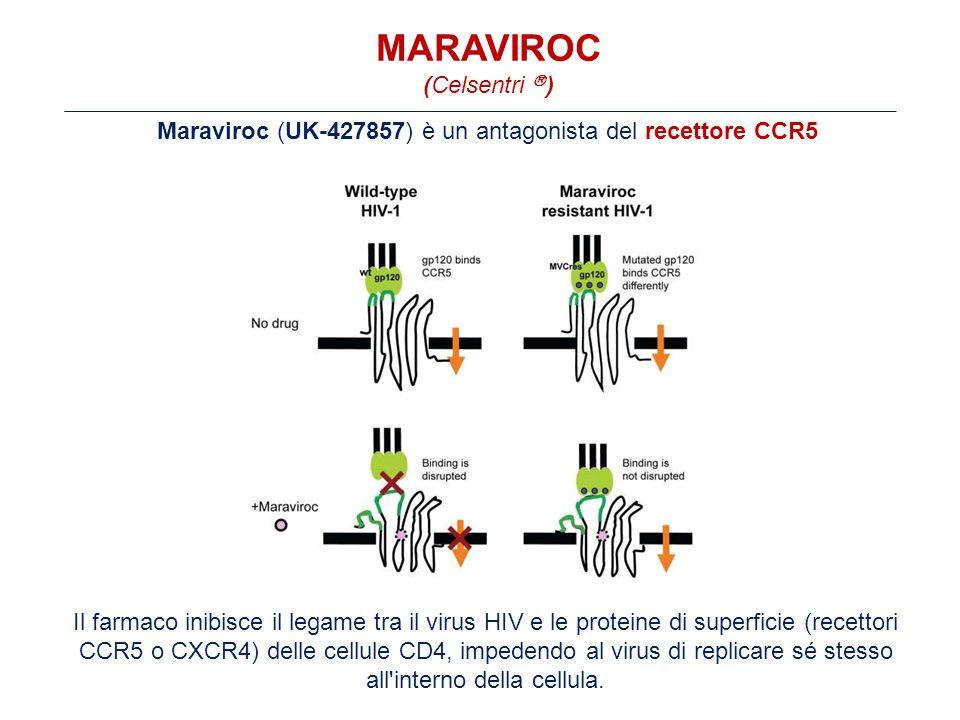 MARAVIROC (Celsentri  ) Maraviroc (UK-427857) è un antagonista del recettore CCR5 Il farmaco inibisce il legame tra il virus HIV e le proteine di superficie (recettori CCR5 o CXCR4) delle cellule CD4, impedendo al virus di replicare sé stesso all interno della cellula.