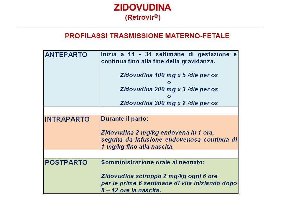 ZIDOVUDINA (Retrovir  ) PROFILASSI TRASMISSIONE MATERNO-FETALE
