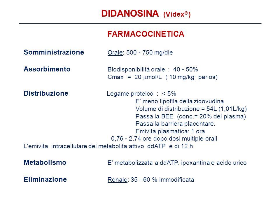 FARMACOCINETICA Somministrazione Orale: 500 - 750 mg/die Assorbimento Biodisponibilità orale : 40 - 50% Cmax = 20  mol/L ( 10 mg/kg per os) Distribuzione Legame proteico : < 5% E' meno lipofila della zidovudina Volume di distribuzione = 54L (1,01L/kg) Passa la BEE (conc.= 20% del plasma) Passa la barriera placentare.
