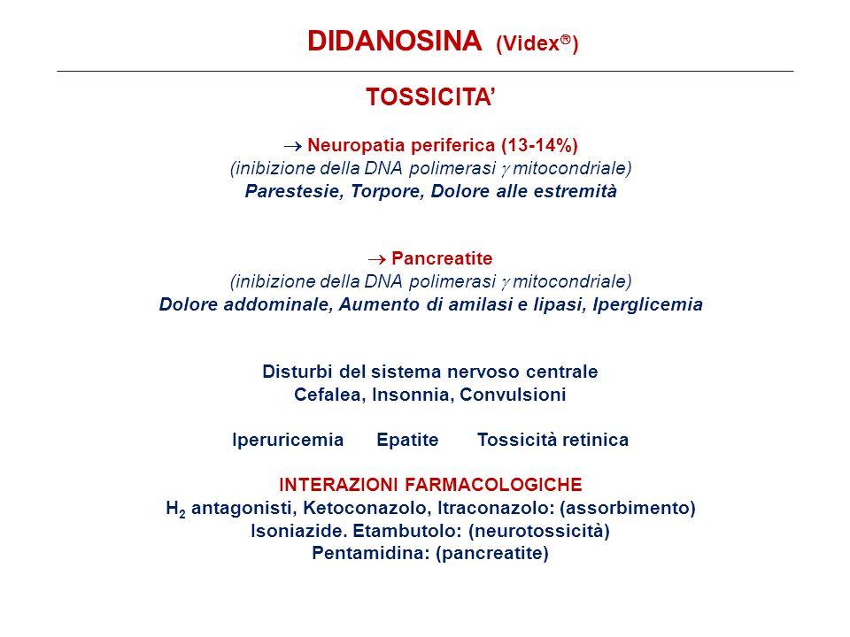 TOSSICITA'  Neuropatia periferica (13-14%) (inibizione della DNA polimerasi  mitocondriale) Parestesie, Torpore, Dolore alle estremità  Pancreatite (inibizione della DNA polimerasi  mitocondriale) Dolore addominale, Aumento di amilasi e lipasi, Iperglicemia Disturbi del sistema nervoso centrale Cefalea, Insonnia, Convulsioni Iperuricemia Epatite Tossicità retinica INTERAZIONI FARMACOLOGICHE H 2 antagonisti, Ketoconazolo, Itraconazolo: (assorbimento) Isoniazide.