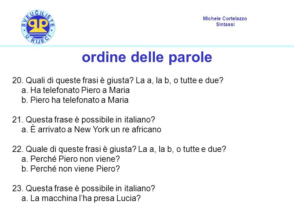 Michele Cortelazzo Sintassi ordine delle parole 20.