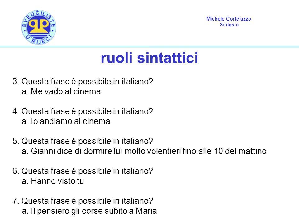 Michele Cortelazzo Sintassi ruoli sintattici 3.Questa frase è possibile in italiano.