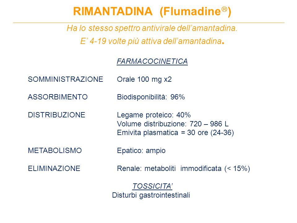RIMANTADINA (Flumadine  ) Ha lo stesso spettro antivirale dell'amantadina.