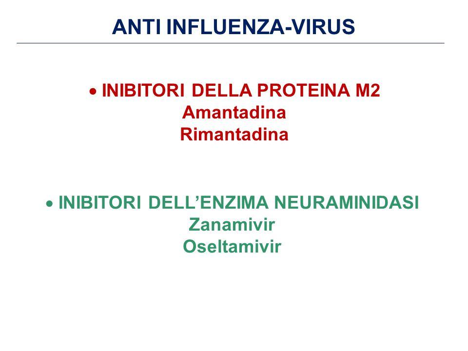 ANTI INFLUENZA-VIRUS  INIBITORI DELLA PROTEINA M2 Amantadina Rimantadina  INIBITORI DELL'ENZIMA NEURAMINIDASI Zanamivir Oseltamivir