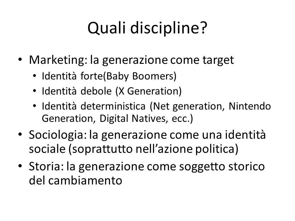 Quali discipline? Marketing: la generazione come target Identità forte(Baby Boomers) Identità debole (X Generation) Identità deterministica (Net gener