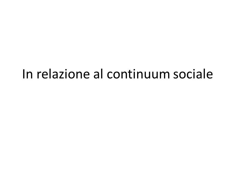 In relazione al continuum sociale