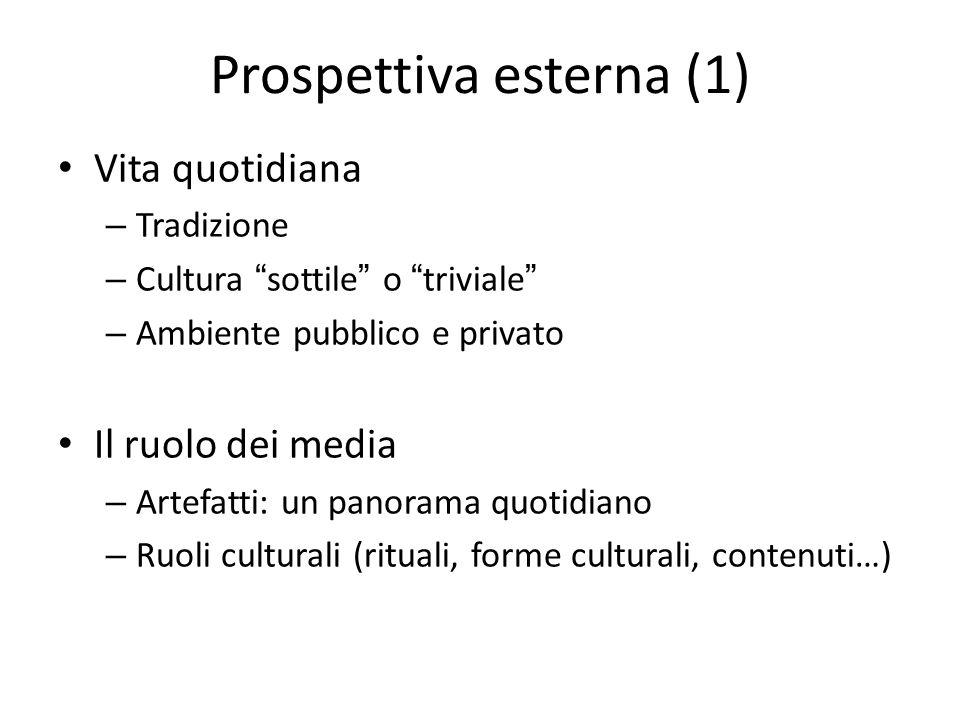 """Prospettiva esterna (1) Vita quotidiana – Tradizione – Cultura """"sottile"""" o """"triviale"""" – Ambiente pubblico e privato Il ruolo dei media – Artefatti: un"""