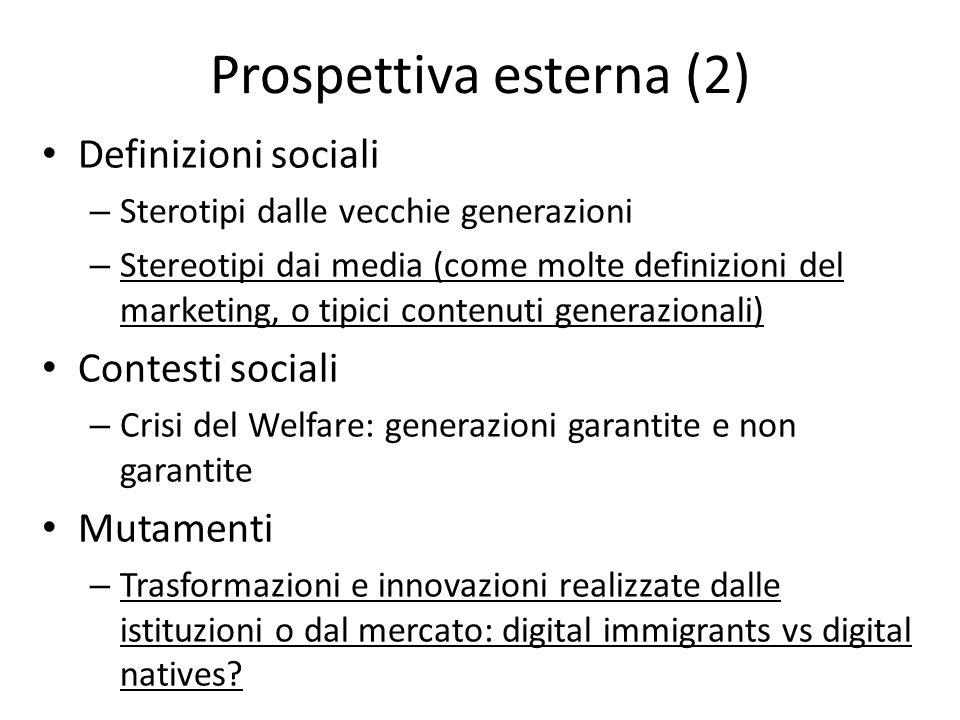 Prospettiva esterna (2) Definizioni sociali – Sterotipi dalle vecchie generazioni – Stereotipi dai media (come molte definizioni del marketing, o tipi