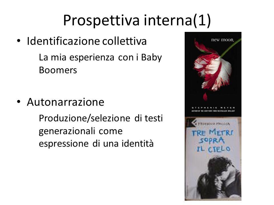 Prospettiva interna(1) Identificazione collettiva La mia esperienza con i Baby Boomers Autonarrazione Produzione/selezione di testi generazionali come