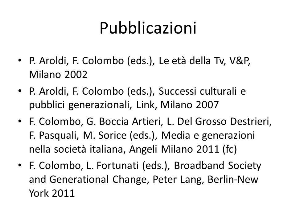 Pubblicazioni P. Aroldi, F. Colombo (eds.), Le età della Tv, V&P, Milano 2002 P. Aroldi, F. Colombo (eds.), Successi culturali e pubblici generazional