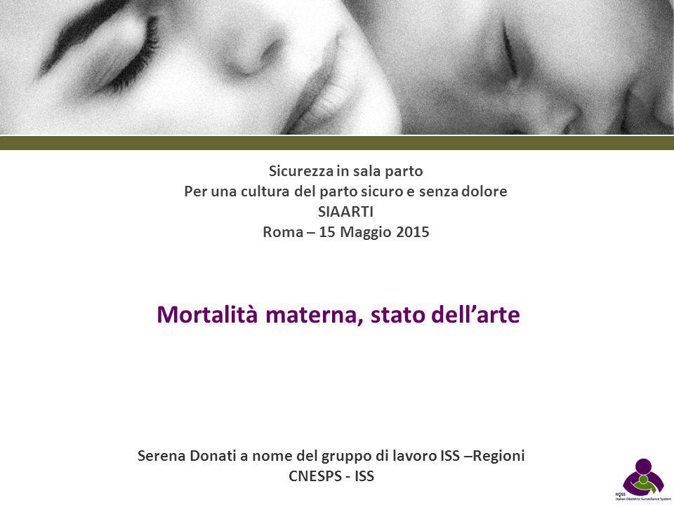 Serena Donati a nome del gruppo di lavoro ISS –Regioni CNESPS - ISS Mortalità materna, stato dell'arte Sicurezza in sala parto Per una cultura del par