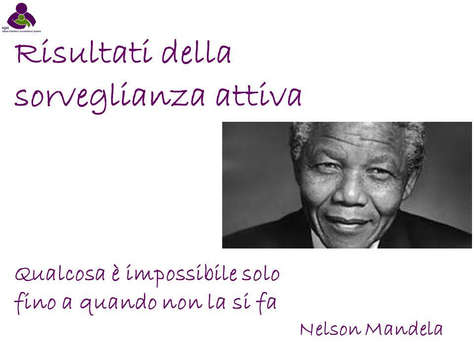 Risultati della sorveglianza attiva Qualcosa è impossibile solo fino a quando non la si fa Nelson Mandela