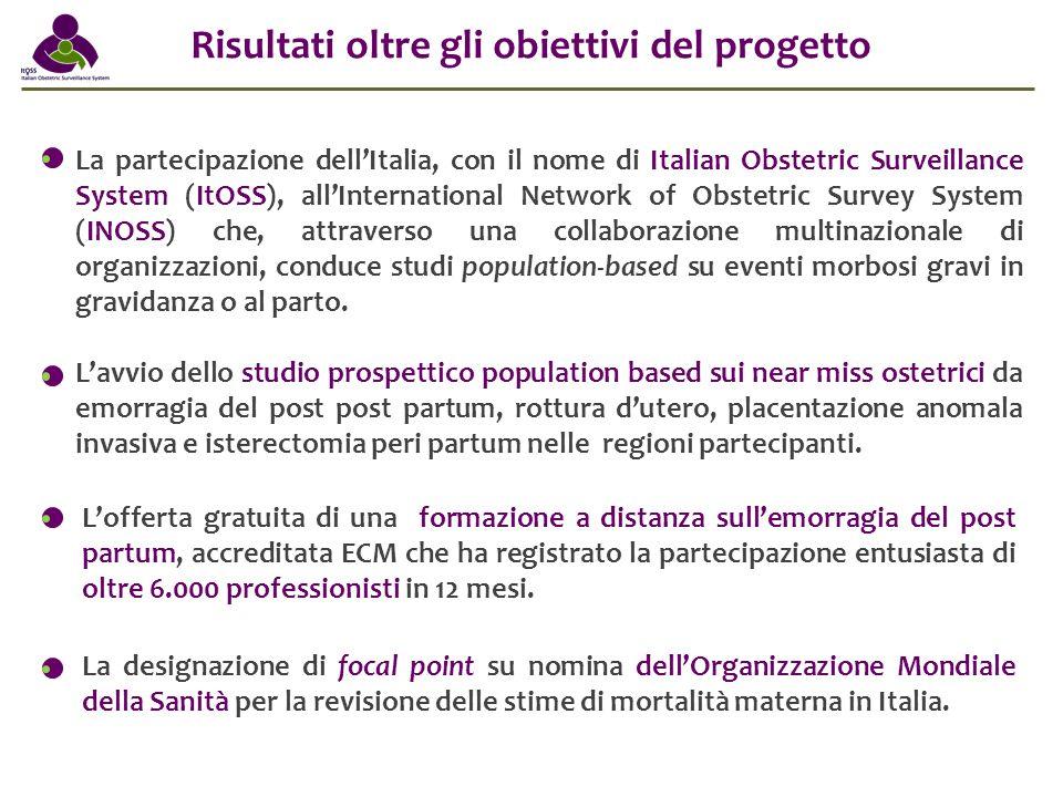 La partecipazione dell'Italia, con il nome di Italian Obstetric Surveillance System (ItOSS), all'International Network of Obstetric Survey System (INO