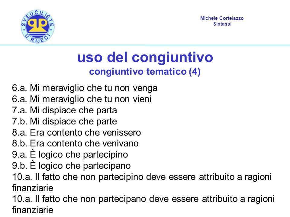 Michele Cortelazzo Sintassi uso del congiuntivo congiuntivo tematico (4) 6.a. Mi meraviglio che tu non venga 6.a. Mi meraviglio che tu non vieni 7.a.