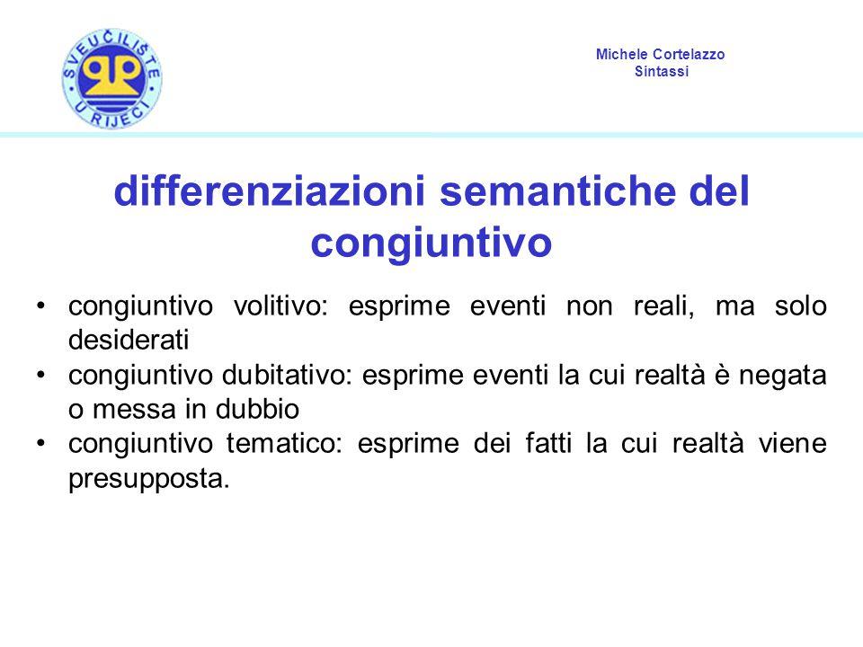 Michele Cortelazzo Sintassi differenziazioni semantiche del congiuntivo congiuntivo volitivo: esprime eventi non reali, ma solo desiderati congiuntivo