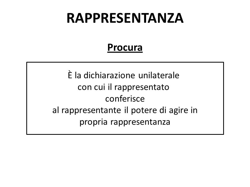 RAPPRESENTANZA Procura È la dichiarazione unilaterale con cui il rappresentato conferisce al rappresentante il potere di agire in propria rappresentan