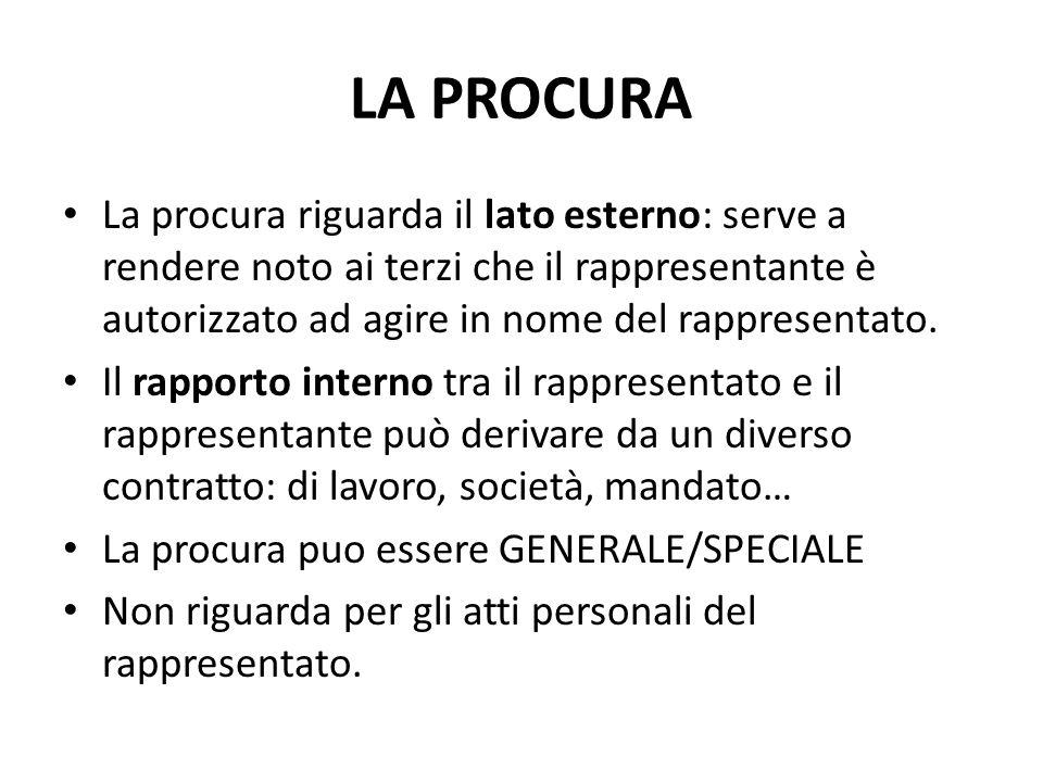 LA PROCURA La procura riguarda il lato esterno: serve a rendere noto ai terzi che il rappresentante è autorizzato ad agire in nome del rappresentato.