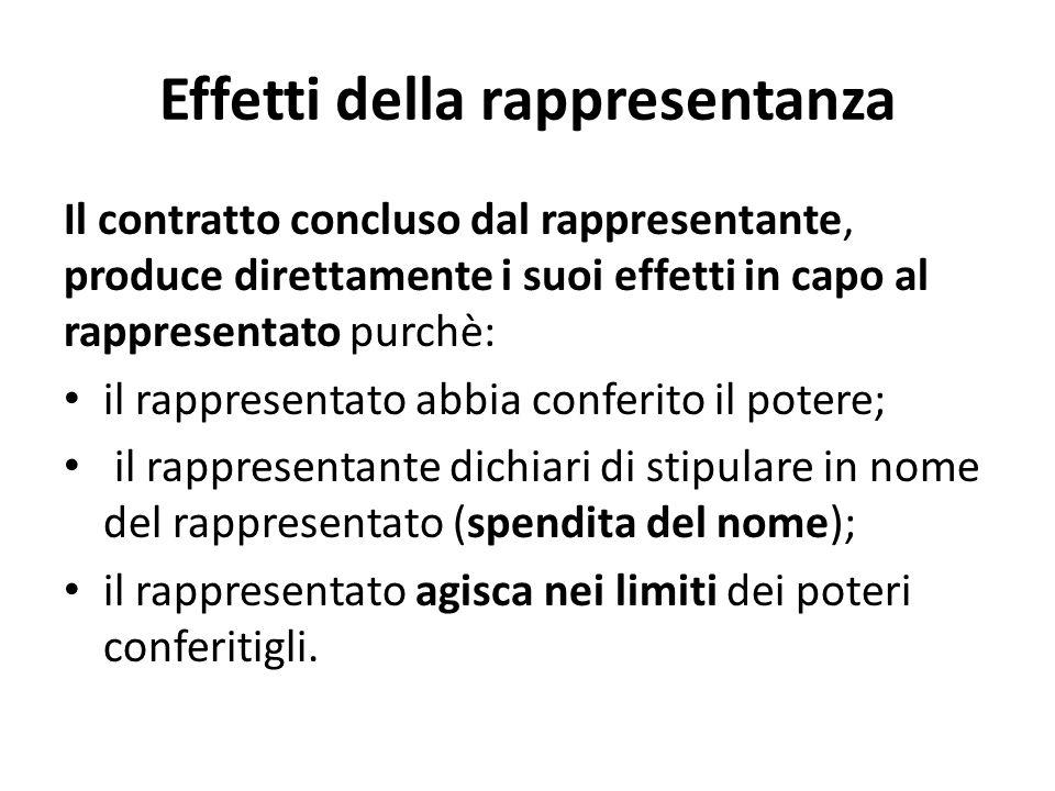Effetti della rappresentanza Il contratto concluso dal rappresentante, produce direttamente i suoi effetti in capo al rappresentato purchè: il rappres