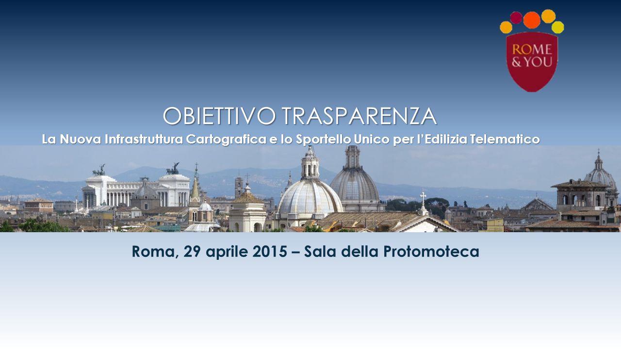 Roma, 29 aprile 2015 – Sala della Protomoteca OBIETTIVO TRASPARENZA La Nuova Infrastruttura Cartografica e lo Sportello Unico per l'Edilizia Telematic