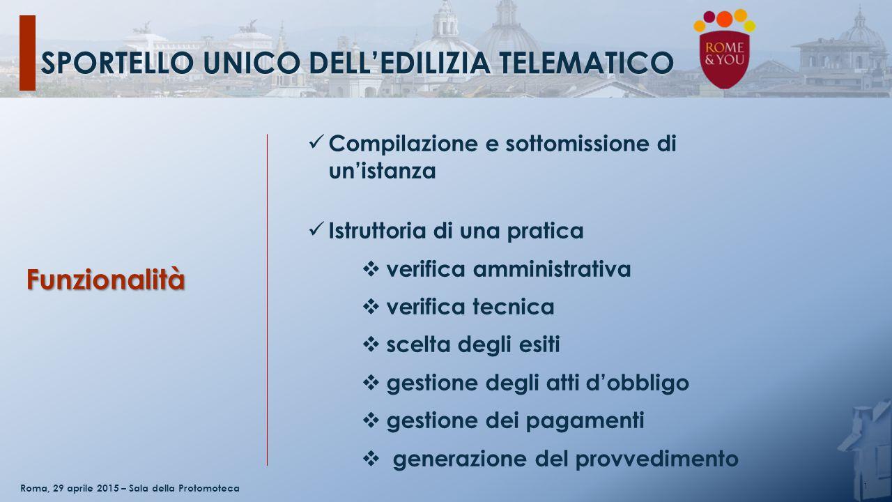 SPORTELLO UNICO DELL'EDILIZIA TELEMATICO 1 Roma, 29 aprile 2015 – Sala della Protomoteca Compilazione e sottomissione di un'istanza Istruttoria di una