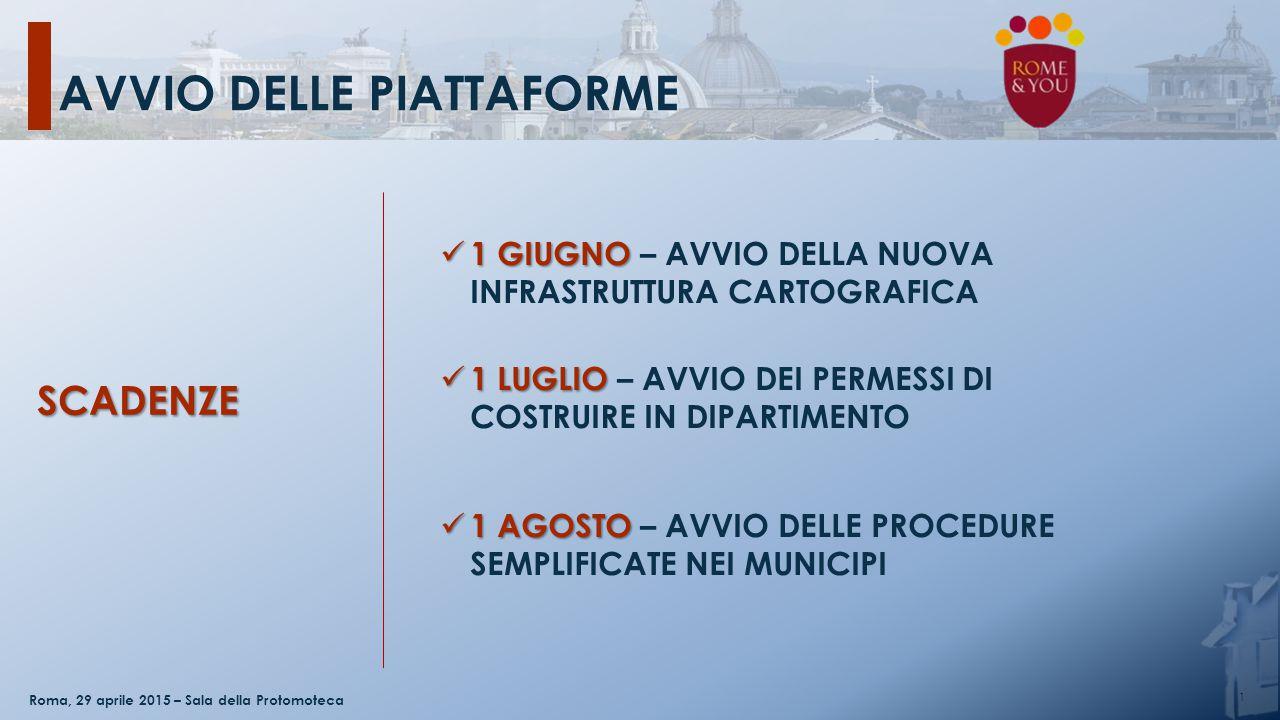 AVVIO DELLE PIATTAFORME 1 Roma, 29 aprile 2015 – Sala della Protomoteca 1GIUGNO 1 GIUGNO – AVVIO DELLA NUOVA INFRASTRUTTURA CARTOGRAFICA 1LUGLIO 1 LUG
