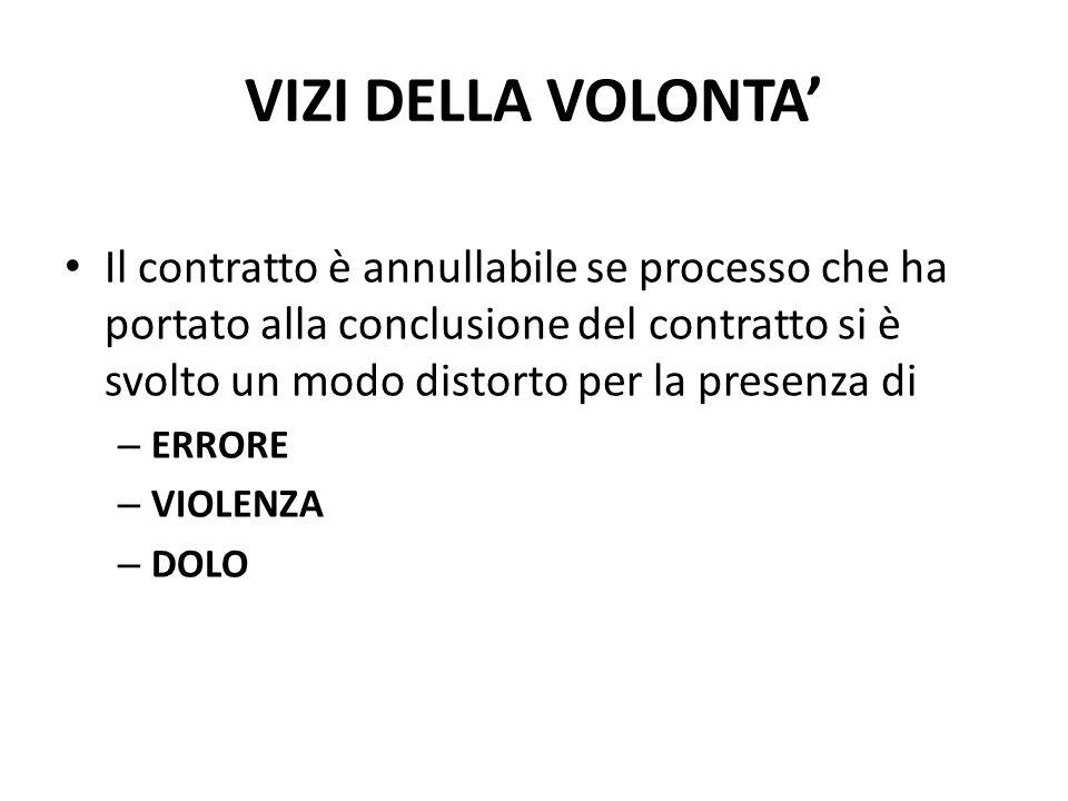 VIZI DELLA VOLONTA' Il contratto è annullabile se processo che ha portato alla conclusione del contratto si è svolto un modo distorto per la presenza di – ERRORE – VIOLENZA – DOLO