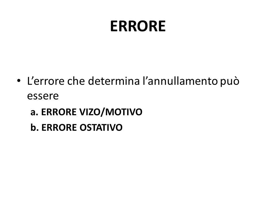 ERRORE L'errore che determina l'annullamento può essere a. ERRORE VIZO/MOTIVO b. ERRORE OSTATIVO