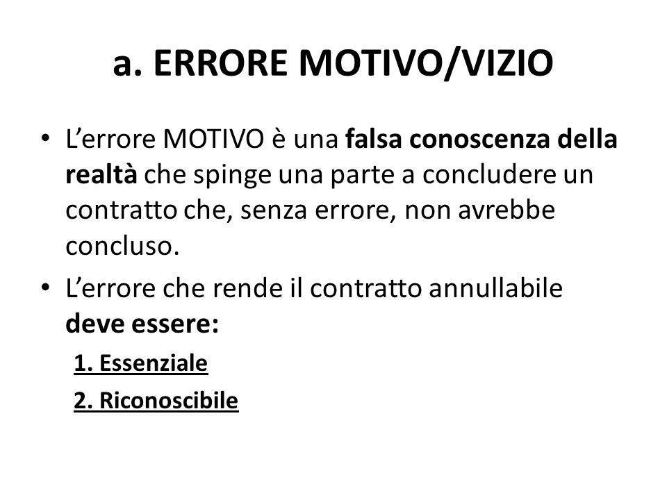 a. ERRORE MOTIVO/VIZIO L'errore MOTIVO è una falsa conoscenza della realtà che spinge una parte a concludere un contratto che, senza errore, non avreb