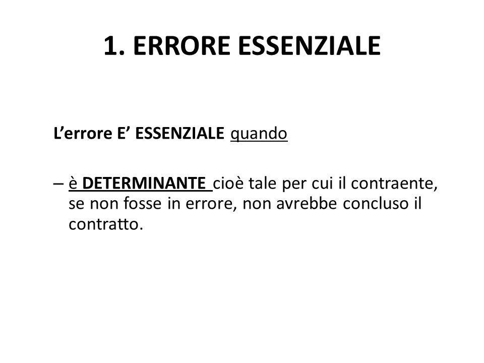1. ERRORE ESSENZIALE L'errore E' ESSENZIALE quando – è DETERMINANTE cioè tale per cui il contraente, se non fosse in errore, non avrebbe concluso il c