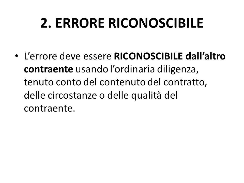 2. ERRORE RICONOSCIBILE L'errore deve essere RICONOSCIBILE dall'altro contraente usando l'ordinaria diligenza, tenuto conto del contenuto del contratt