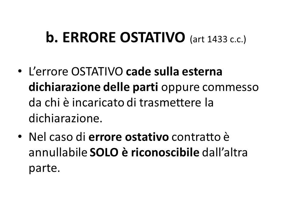 b. ERRORE OSTATIVO (art 1433 c.c.) L'errore OSTATIVO cade sulla esterna dichiarazione delle parti oppure commesso da chi è incaricato di trasmettere l