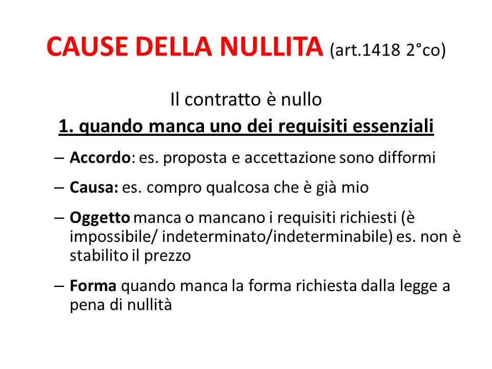 CAUSE DELLA NULLITA (art.1418 2°co) Il contratto è nullo 1.