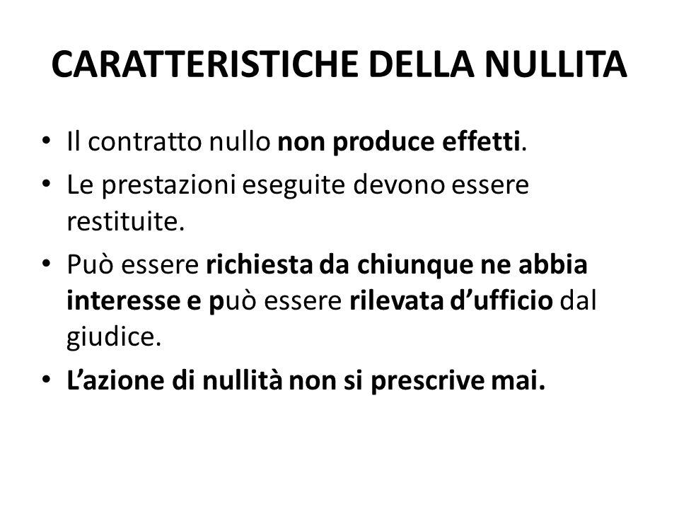 CARATTERISTICHE DELLA NULLITA Il contratto nullo non produce effetti.