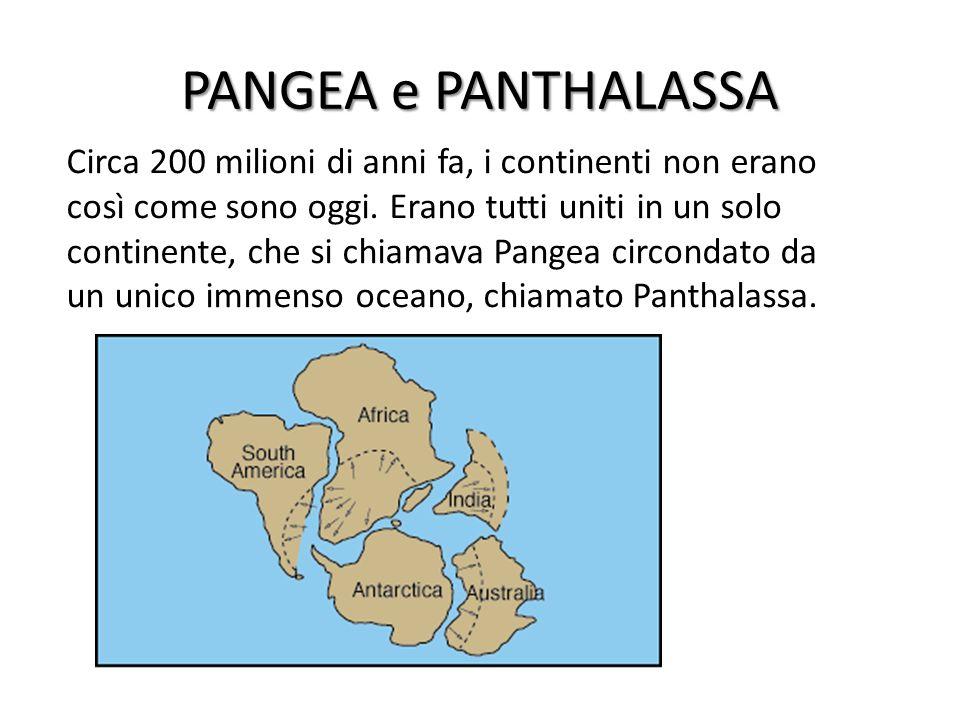 PANGEA e PANTHALASSA Circa 200 milioni di anni fa, i continenti non erano così come sono oggi. Erano tutti uniti in un solo continente, che si chiamav