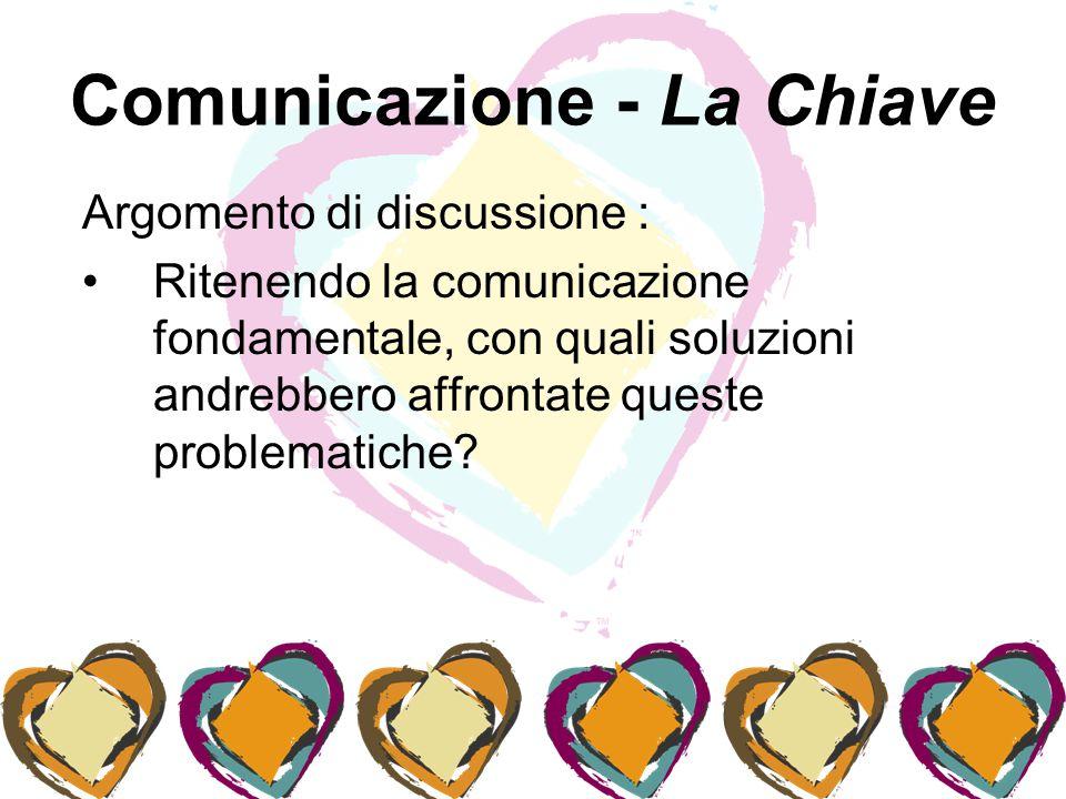 Comunicazione - La Chiave Argomento di discussione : Ritenendo la comunicazione fondamentale, con quali soluzioni andrebbero affrontate queste problematiche
