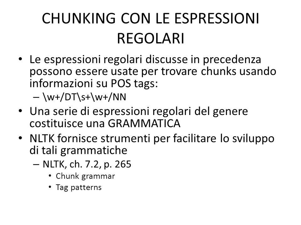 CHUNKING CON LE ESPRESSIONI REGOLARI Le espressioni regolari discusse in precedenza possono essere usate per trovare chunks usando informazioni su POS