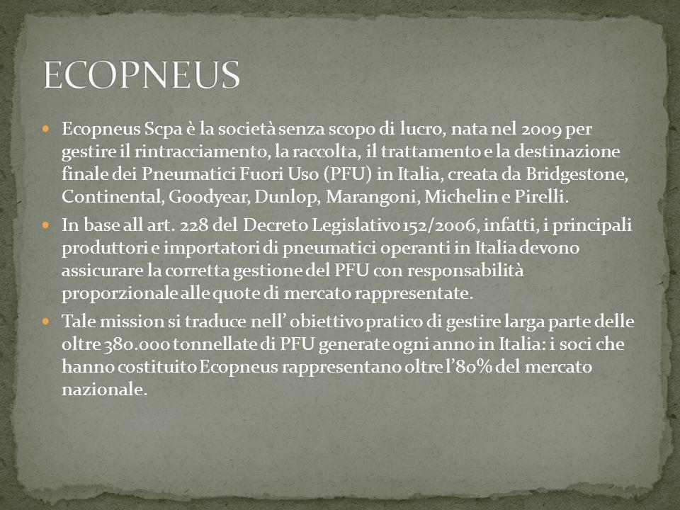 Ecopneus Scpa è la società senza scopo di lucro, nata nel 2009 per gestire il rintracciamento, la raccolta, il trattamento e la destinazione finale dei Pneumatici Fuori Uso (PFU) in Italia, creata da Bridgestone, Continental, Goodyear, Dunlop, Marangoni, Michelin e Pirelli.