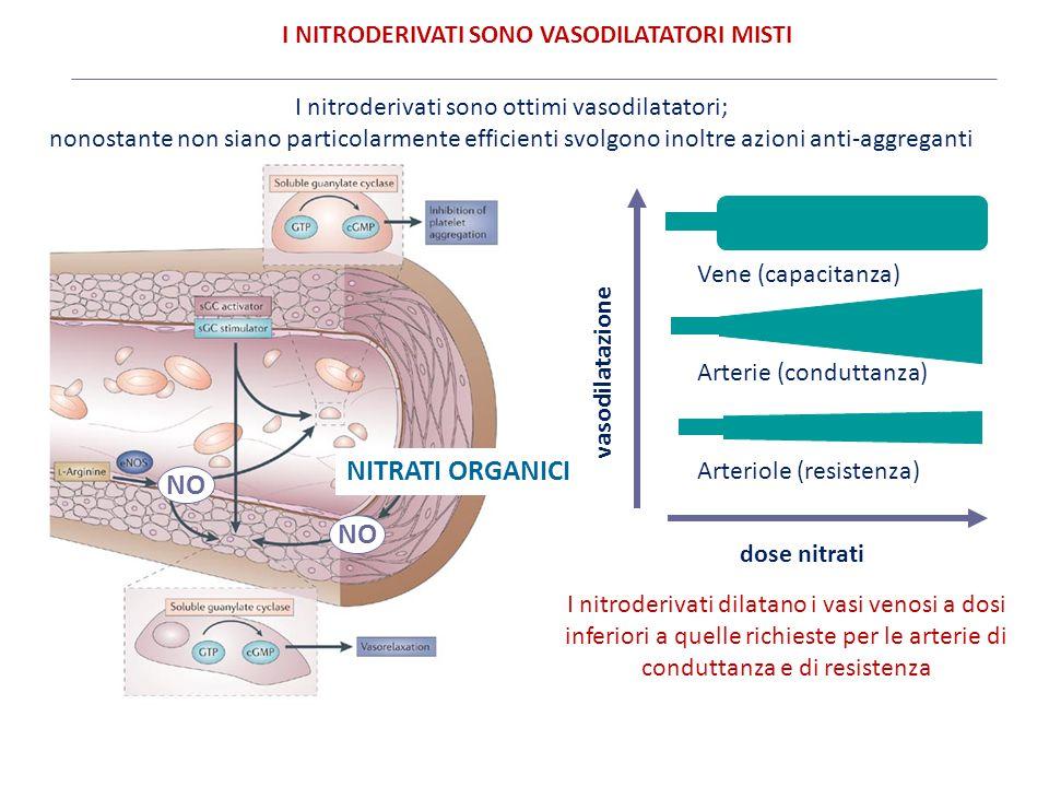 NO NITRATI ORGANICI Vene (capacitanza) Arterie (conduttanza) Arteriole (resistenza) dose nitrati I nitroderivati sono ottimi vasodilatatori; nonostant