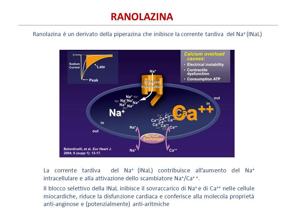 La corrente tardiva del Na + (INaL) contribuisce all'aumento del Na + intracellulare e alla attivazione dello scambiatore Na + /Ca + +. Il blocco sele