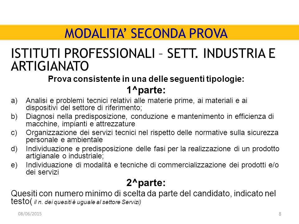 08/06/2015 8 MODALITA' SECONDA PROVA ISTITUTI PROFESSIONALI – SETT.