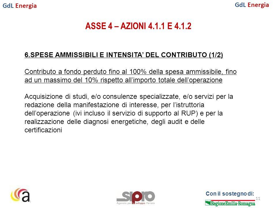 GdL Energia Con il sostegno di: ASSE 4 – AZIONI 4.1.1 E 4.1.2 11 6.SPESE AMMISSIBILI E INTENSITA' DEL CONTRIBUTO (1/2) Contributo a fondo perduto fino al 100% della spesa ammissibile, fino ad un massimo del 10% rispetto all'importo totale dell'operazione Acquisizione di studi, e/o consulenze specializzate, e/o servizi per la redazione della manifestazione di interesse, per l'istruttoria dell'operazione (ivi incluso il servizio di supporto al RUP) e per la realizzazione delle diagnosi energetiche, degli audit e delle certificazioni