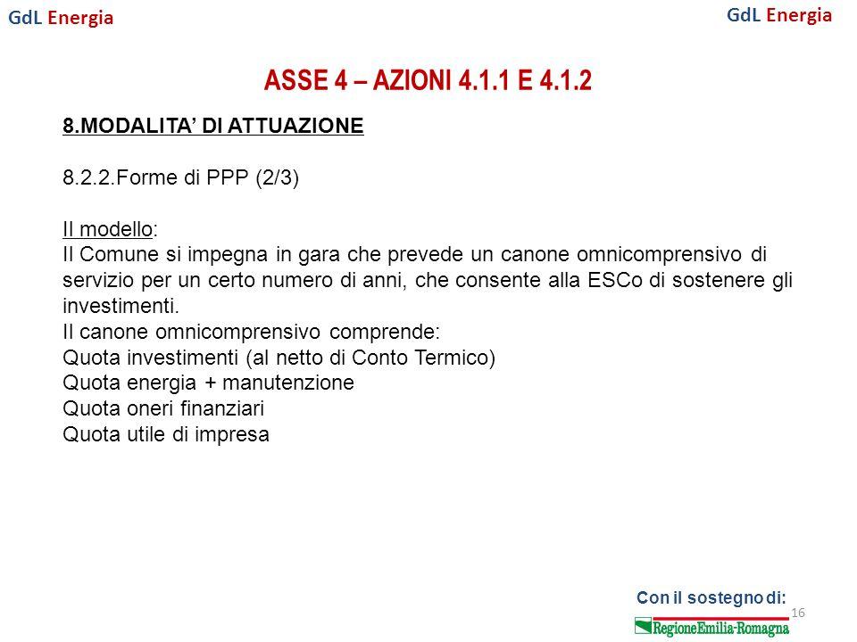 GdL Energia Con il sostegno di: ASSE 4 – AZIONI 4.1.1 E 4.1.2 16 8.MODALITA' DI ATTUAZIONE 8.2.2.Forme di PPP (2/3) Il modello: Il Comune si impegna in gara che prevede un canone omnicomprensivo di servizio per un certo numero di anni, che consente alla ESCo di sostenere gli investimenti.