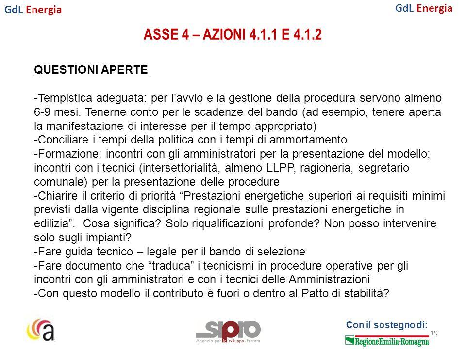 GdL Energia Con il sostegno di: ASSE 4 – AZIONI 4.1.1 E 4.1.2 19 QUESTIONI APERTE -Tempistica adeguata: per l'avvio e la gestione della procedura servono almeno 6-9 mesi.