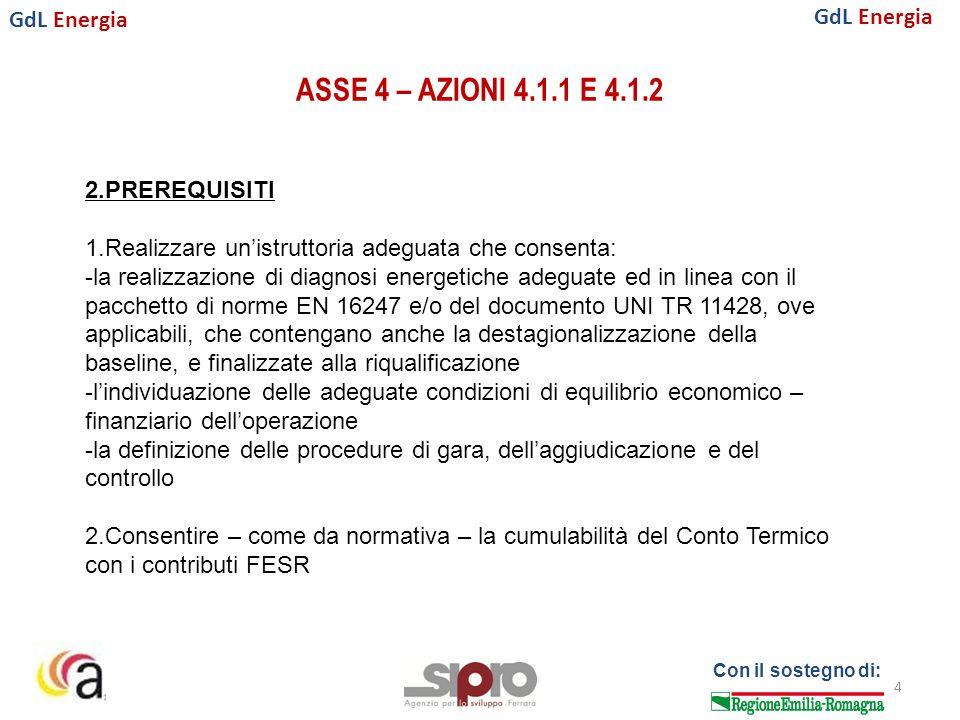 GdL Energia Con il sostegno di: ASSE 4 – AZIONI 4.1.1 E 4.1.2 4 2.PREREQUISITI 1.Realizzare un'istruttoria adeguata che consenta: -la realizzazione di diagnosi energetiche adeguate ed in linea con il pacchetto di norme EN 16247 e/o del documento UNI TR 11428, ove applicabili, che contengano anche la destagionalizzazione della baseline, e finalizzate alla riqualificazione -l'individuazione delle adeguate condizioni di equilibrio economico – finanziario dell'operazione -la definizione delle procedure di gara, dell'aggiudicazione e del controllo 2.Consentire – come da normativa – la cumulabilità del Conto Termico con i contributi FESR